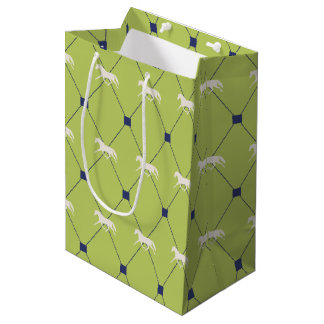 Blue and Green Harleqiun Trotting Horse Pattern Medium Gift Bag