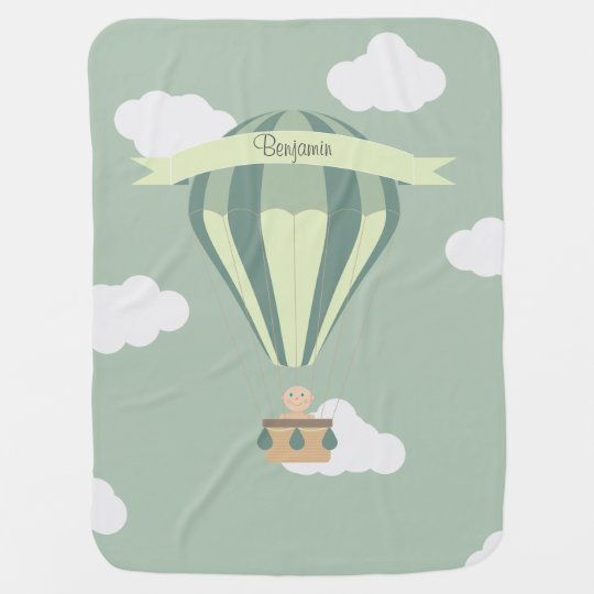 Blue and green hot air balloon personalised buggy blankets
