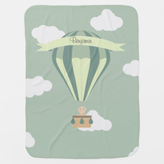 Blue and green hot air balloon personalized buggy blankets