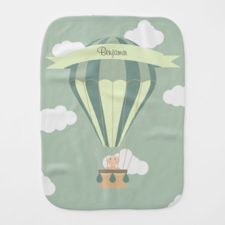 Blue and green hot air balloon personalized burp cloth