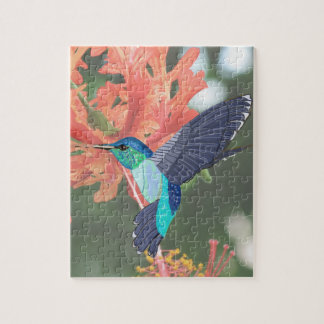 Blue and Green Hummingbird and orange Hibiscus Jigsaw Puzzle