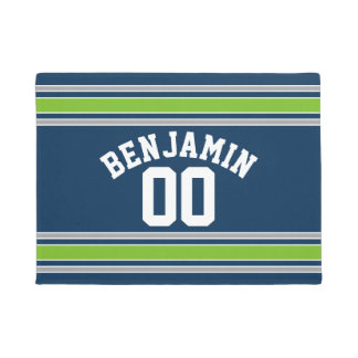 Blue and Green Jersey Custom Name Number Doormat