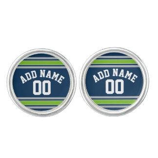 Blue and Green Jersey Stripes Custom Name Number Cuff Links