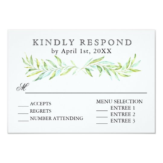 Blue and Green Laurel Wreath Wedding RSVP Card