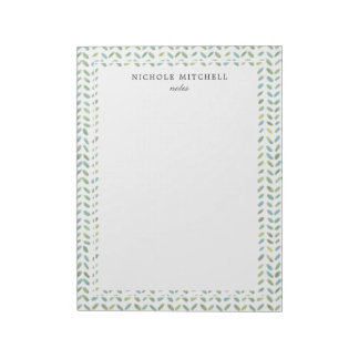 Blue and Green Leaf Watercolor Pattern Notepad