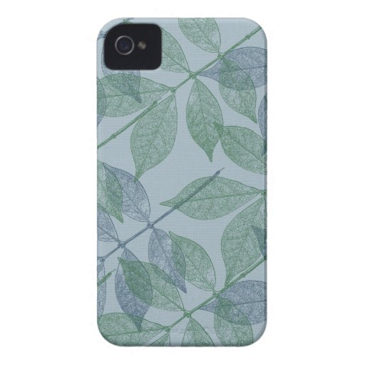 Blue and Green Leaves IV iPhone 4 Covers