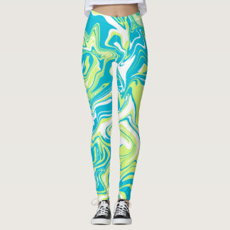 Blue and green marble abstract effect leggings. leggings
