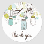 Blue and Green Mason Jars Thank You Sticker