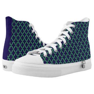 Blue and Green Modern Geometric Pattern High Tops