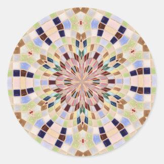 Blue and Green Mosaic Kaleidoscope Classic Round Sticker