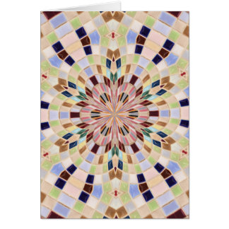 Blue and Green Mosaic Kaleidoscope Greeting Card
