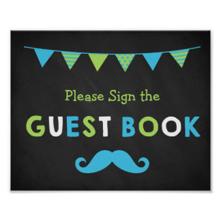 Blue and Green Moustache Chalkboard Guest Book