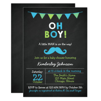 Blue and Green Mustache Baby Shower Card