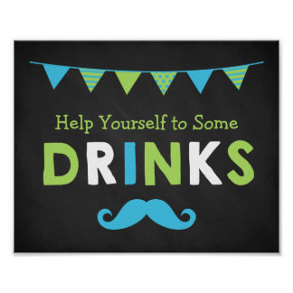 Blue and Green Mustache Chalkboard Baby Shower Poster
