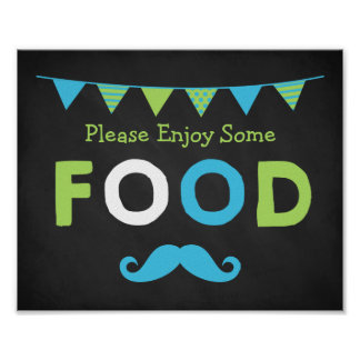 Blue and Green Mustache Chalkboard Food Sign