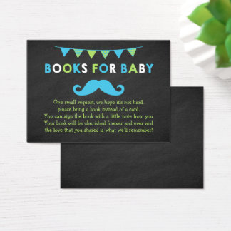 Blue and Green Mustache Shower Book Request Card