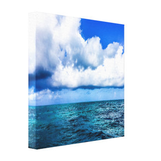 Blue and Green Ocean with Blue Sky Canvas Print