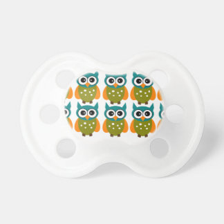 Blue and Green Owls Baby Pacifier