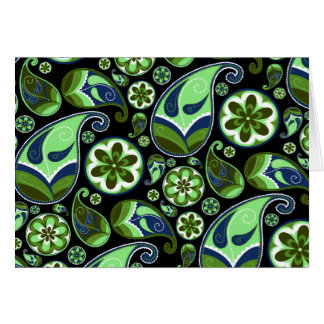 Blue and Green Paisley on Black Card