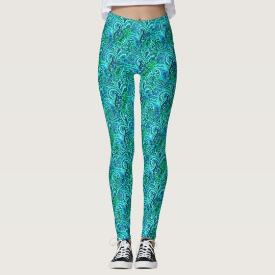 Blue and Green Paisley Yoga Running Exercise Leggings