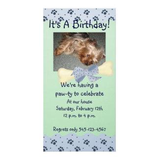 Blue and Green Paw Print Birthday Invitation