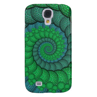 Blue and Green Peacock Feather Fractal Galaxy S4 Case