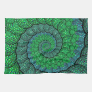 Blue and Green Peacock Feather Fractal Tea Towel