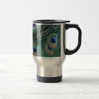 Blue And Green Peacock Feathers Travel Mug