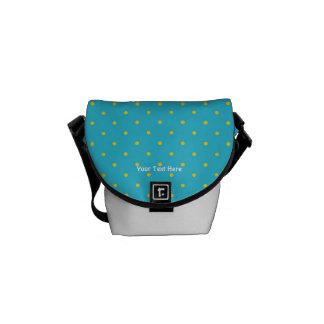 Blue and Green Polka Dot Mini Messenger Bag