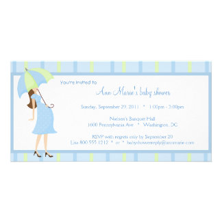 Blue And Green Polka Dots Baby Shower Invitation Customised Photo Card