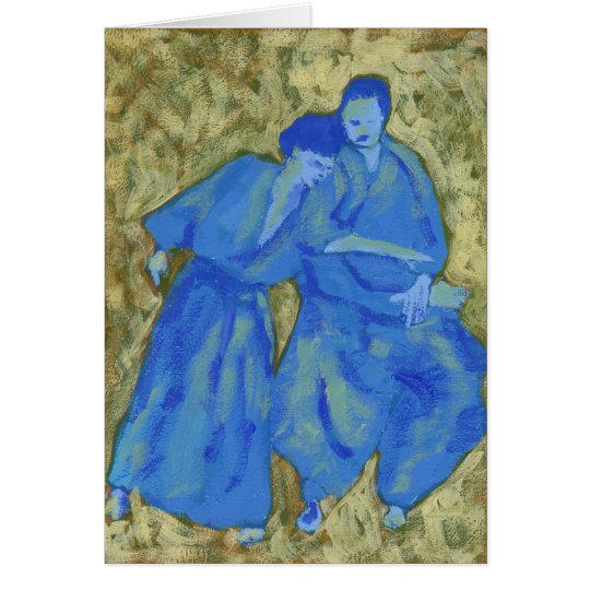 Blue and green practicing aikido greeting card