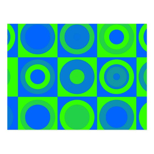 Blue And Green Retro Pattern Postcard