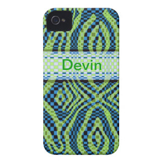 Blue and Green Retro swirl Iphone4/4s ID case