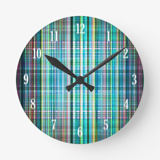 Blue and green rough stripes pattern clocks