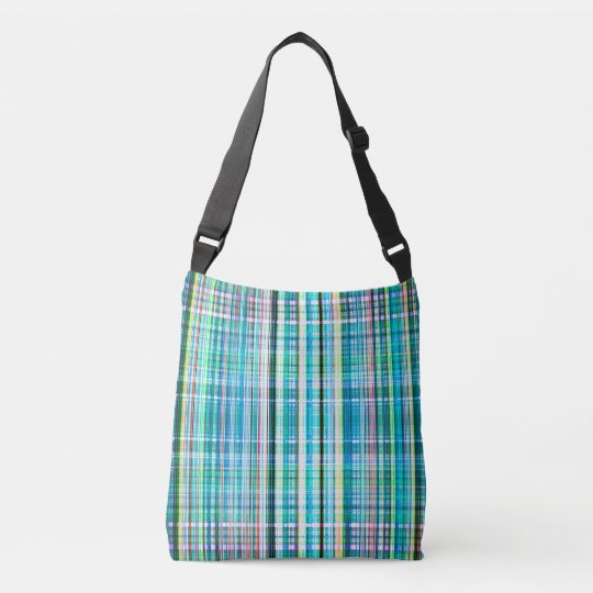 Blue and green rough stripes pattern crossbody bag