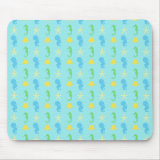 Blue and Green Sea Horses and Yellow and Cream Sea Mouse Pad