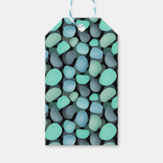 Blue and green sea pebbles gift tags
