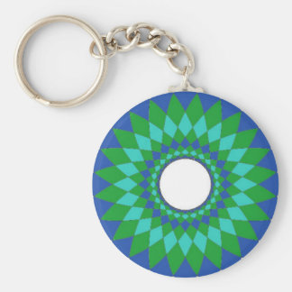 Blue and Green Spirograph Keychain