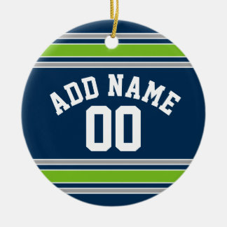 Blue and Green Sports Jersey Custom Name Number Christmas Ornament