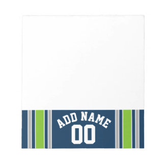 Blue and Green Sports Jersey Custom Name Number Notepads