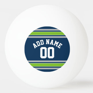 Blue and Green Sports Jersey Custom Name Number Ping Pong Ball