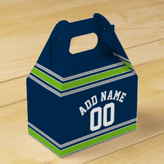 Blue and Green Sports Jersey Custom Name Number Wedding Favour Boxes