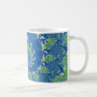 Blue and Green Spring Spiral Fractal Basic White Mug