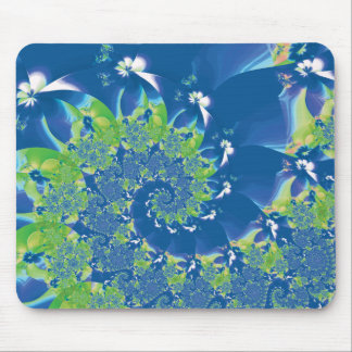 Blue and Green Spring Spiral Fractal Mouse Pad