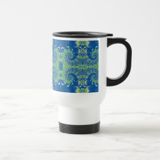 Blue and Green Spring Spiral Fractal Coffee Mugs