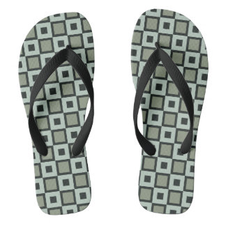 Blue-and Green Square Pattern Flip-Flops Flip Flops