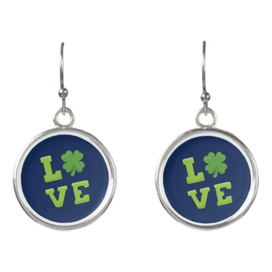 Blue and Green St Patricks Day Love Earrings