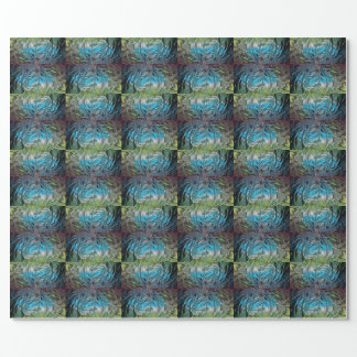 Blue and Green Stained Glass Wrapping Paper