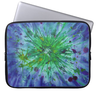 Blue and green starburst abstract art computer sleeve