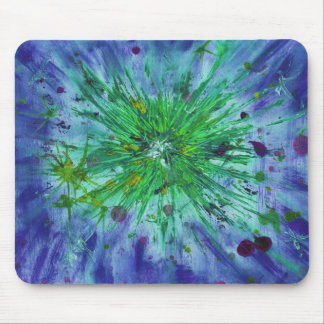 Blue and green starburst abstract art mouse pad